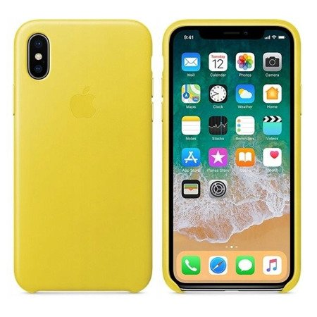 Skórzane etui do Apple iPhone X/XS Żółte